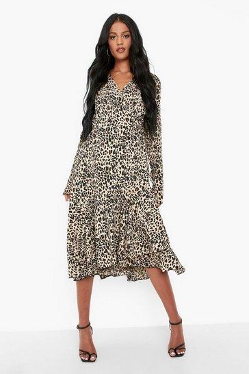 Animal multi Tall Leopard Print Wrap Midi Dress