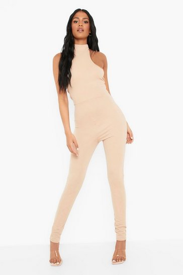 Stone beige Tall Halter Neck Fitted Jumpsuit
