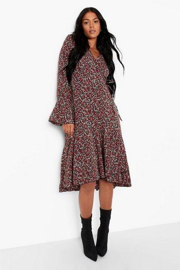Black Tall Floral Print Wrap Midi Dress