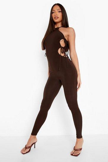 Chocolate brown Tall Side Tie Slinky Jumpsuit