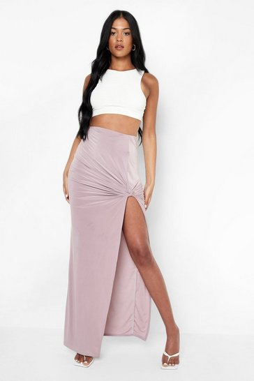 Mauve purple Tall Slinky Knot Front Maxi Skirt
