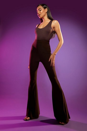 Chocolate brown Tall Slinky Flare Trousers