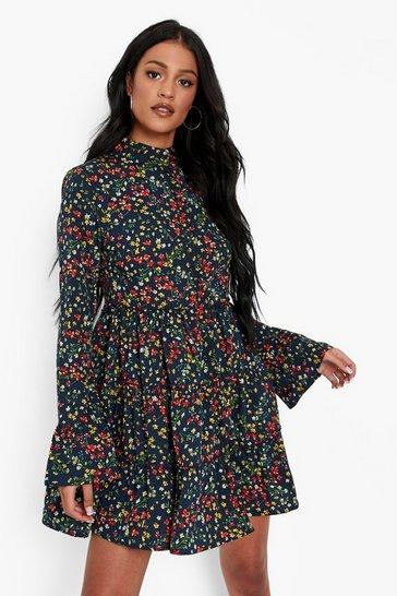 Black Tall Floral Tiered Smock Dress
