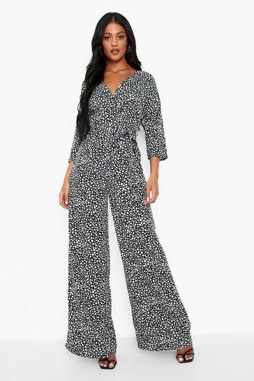Black Tall Dalmatian Print Wrap Tie Belt Jumpsuit