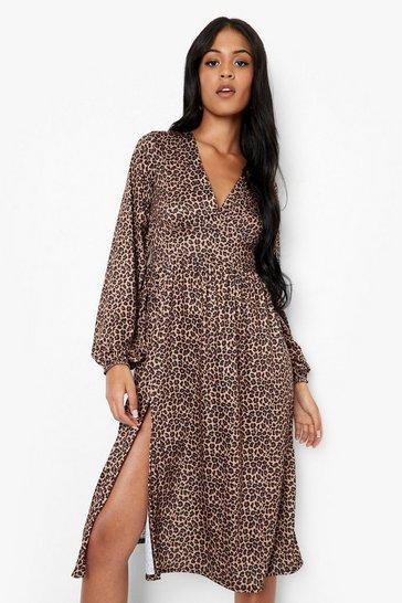 Black Tall Leopard Long Sleeve Midi Dress
