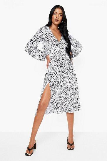 White Tall Spot Long Sleeve Midi Dress