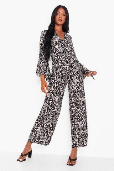 Black Tall Monochrome Wide Leg Wrap Jumpsuit