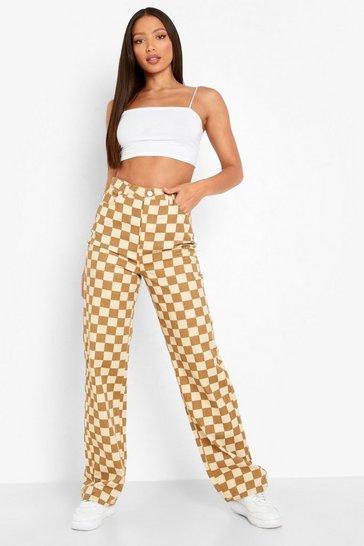 Stone beige Tall Checkerboard Printed Boyfriend Jeans