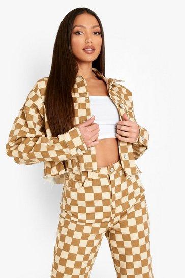 Stone beige Tall Checkerboard Printed Denim Jacket