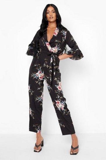 Black Tall Floral Wrap Jumpsuit