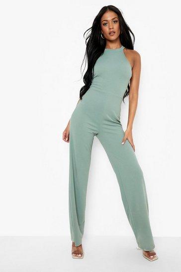 Sage green Tall High Neck Strap Wide Leg Jumpsuit