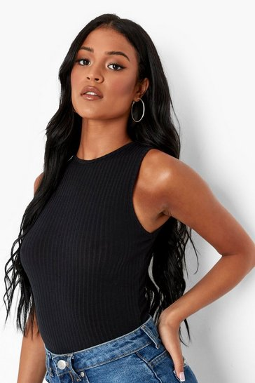 Black Tall Recycled Racer Soft Knit Rib Bodysuit
