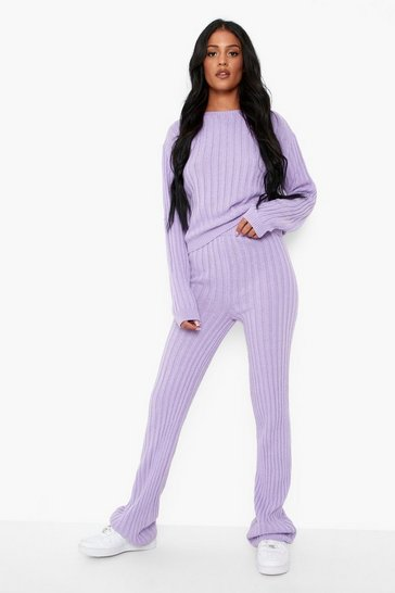 Lilac purple Tall Knitted Jumper And Trouser Co-ord