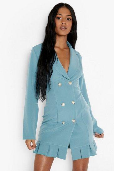 Teal green Tall Frill Hem Woven Blazer Dress