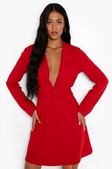 Red Tall Scuba Crepe Blazer Skater Dress