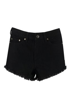 Black Tall Fiona Fray Hem Denim Shorts
