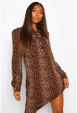Tall Collar and Button Detail Leopard Print Dress