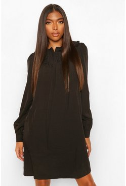 Black Tall Collar and Button Detail Woven Dress