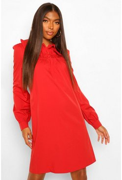 Red Tall Collar and Button Detail Woven Dress