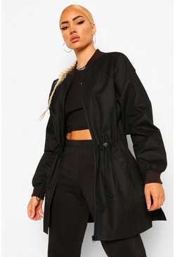 Black Tall Longline Bomber Jacket