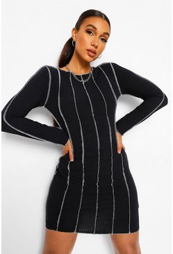Black Tall Overlock Stitch Detail Bodycon Dress