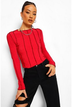 Red Tall Overlock Stitch Detail Long Sleeve Top