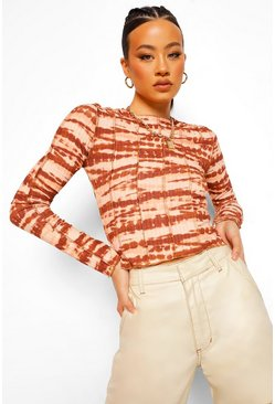 Brown Tall Tie Dye Overlock Stitch Detail Long Sleeve Top