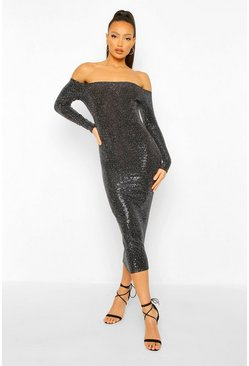 Black Tall Sequin Square Neck Long Sleeve Bodycon Dress