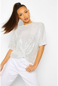 Grey Tall Sequin Twist Front Top