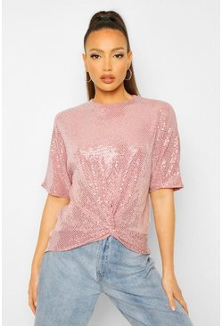 Nude Tall Sequin Twist Front Top