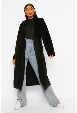 Tall Belted Longline Brushed Wool Look Coat, Black nero