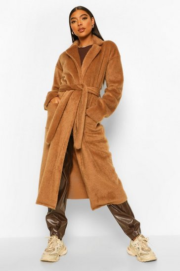 Camel beige Tall Belted Longline Brushed Wool Look Coat