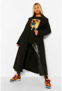 Black Tall Longline Wool Look Belted Coat