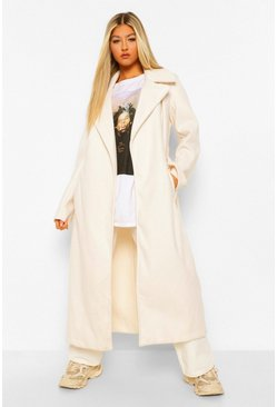 Tall Longline Wool Look Belted Coat, Ivory blanc
