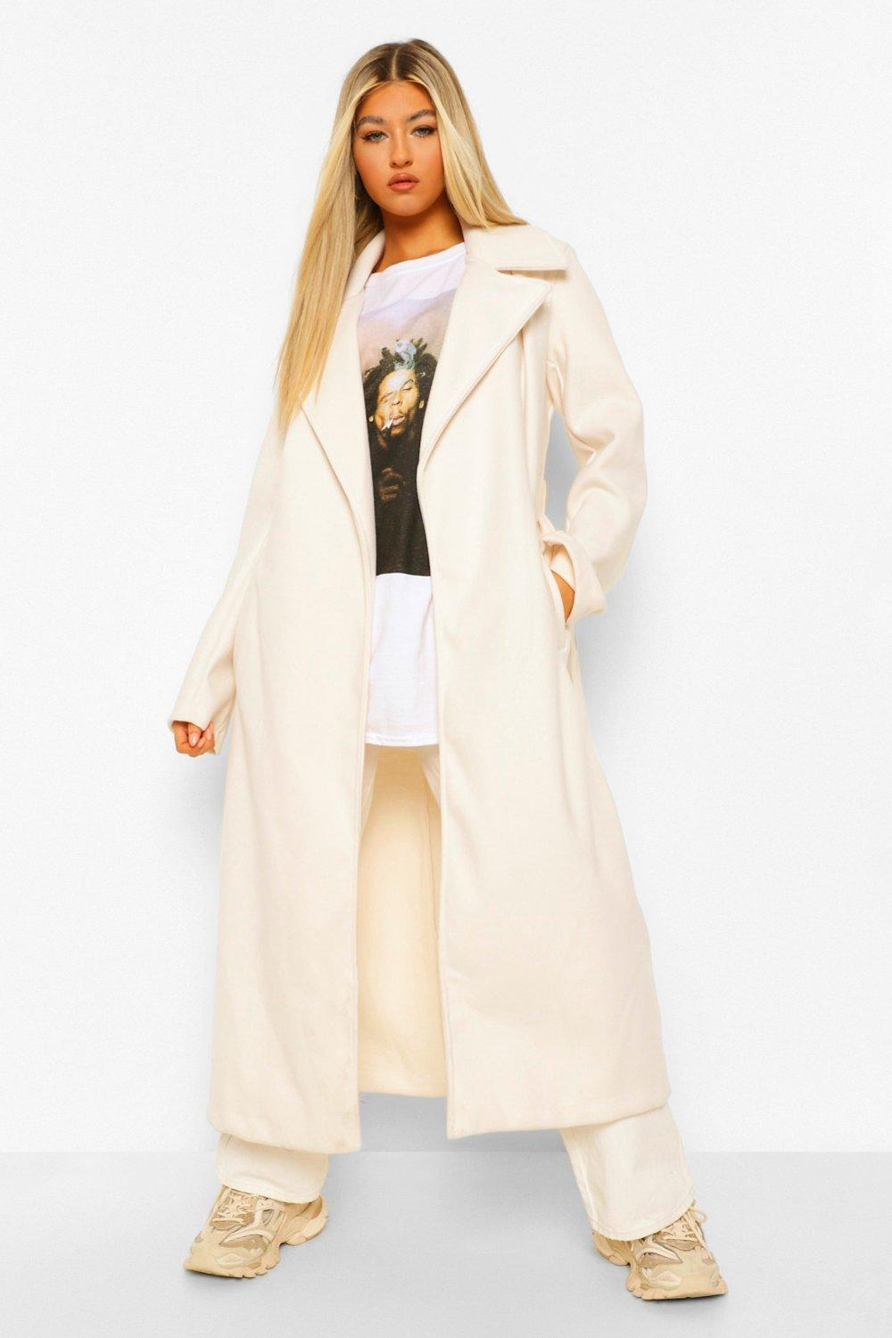 Tall Clothing Tall Longline Wool Look Belted Coat