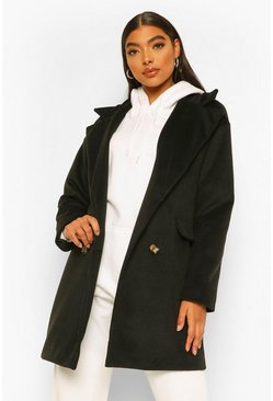 Tall Double Breasted Wool Look Coat, Black nero