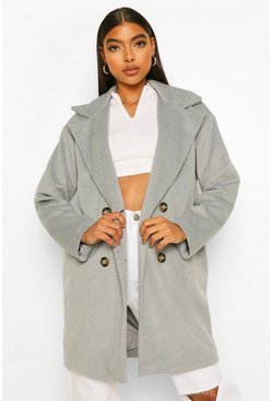 Grey Tall Double Breasted Wool Look Coat