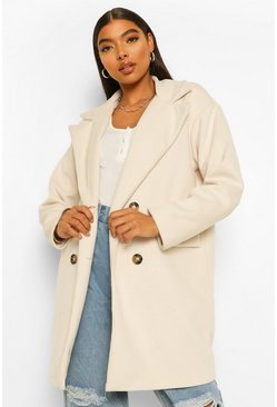 Ivory white Tall Double Breasted Wool Look Coat