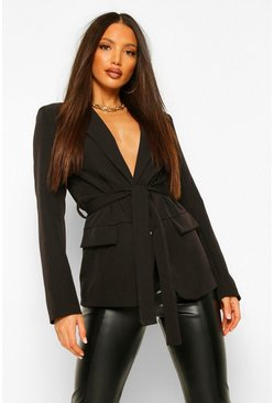 Black Tall Belted Blazer