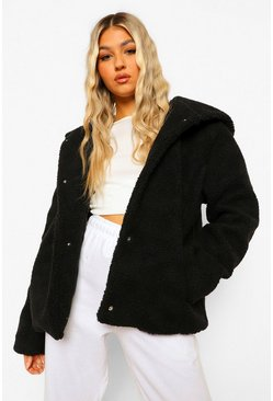 Black Tall Hooded Faux Fur Teddy Coat