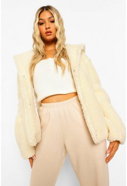 Tall Hooded Faux Fur Teddy Coat, Cream weiß