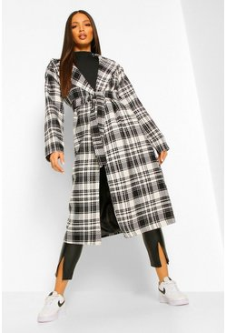 Tall Check Oversized Belted Robe Wool Look Coat, Black noir