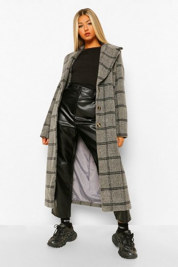 Blue Tall Check Oversized Wool Look Coat
