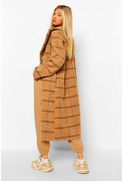 Tall Check Oversized Wool Look Coat, Tobacco marron