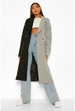 Black Tall Contrast Colour Block Wool Look Coat