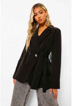 Black Tall Belted Wrap Blazer