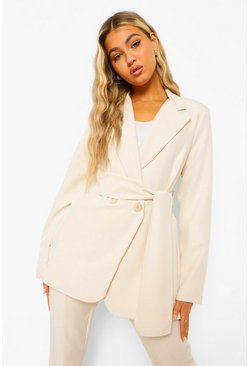 Ivory white Tall Belted Wrap Blazer