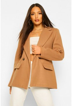 Tall Blazer Style Wool Look Coat, Camel beige