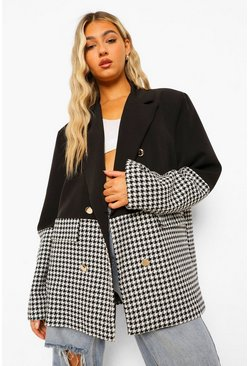 Tall Dogtooth Colour Block Blazer, Black schwarz