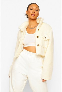 Ivory white Tall Pocket Front Cropped Teddy Jacket